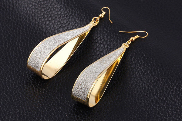 Frosted Water Drop Earrings