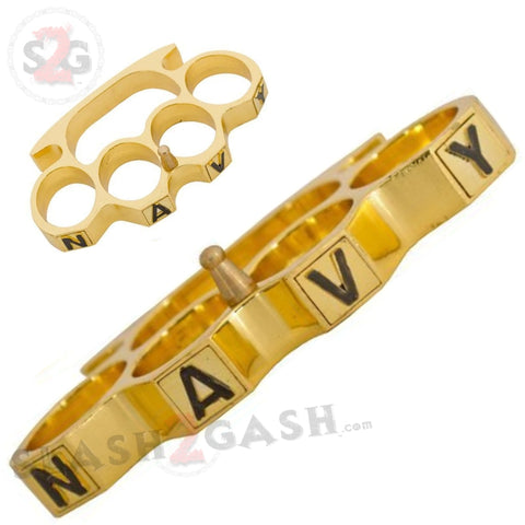 Navy Brass Knuckles Heavy Duty Belt Buckle Paperweight - Shiny Gold