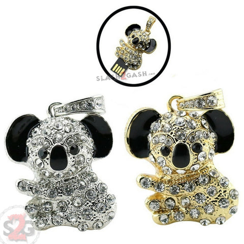 Cute Crystal Koala Necklace USB Flash Drive 2.0 Pendant 16 GB gold/silver Memory Stick