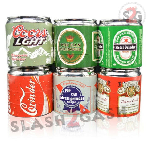 BEER Themed Pop Can Tobacco Herb Grinder - 4 pieces Metal Spice Crusher