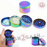 "Rainbow Stainless Steel Magnetic Spice Herb Grinder 4 piece - 2"" inch 50mm Ice Blue"