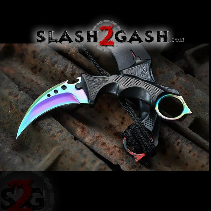 CSGO ELITE Rainbow Fade Karambit FULL TANG Tactical Claw Neck Knife