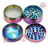 "Rainbow Stainless Steel Magnetic Spice Herb Grinder 4 piece - 2"" inch 50mm Blue Ice"