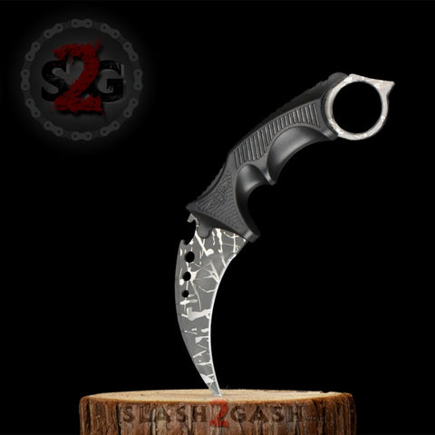 CSGO Grey Karambit Full TANG Tactical Claw Neck Knife w/ Sheath ELITE ver