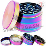 "Rainbow Stainless Steel Magnetic Spice Herb Grinder 4 piece - 2.5"" inch 63mm Ice Blue"