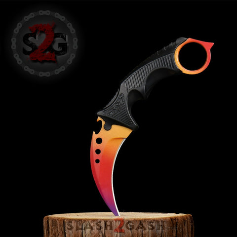 CSGO Radiant Karambit Full TANG Tactical Claw Neck Knife ELITE ver