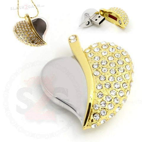 Crystal Necklace Heart USB Flash Drive 2.0 Gold Pendant Charm 16gb memory stick