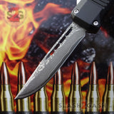 "Delta Force Small 7"" OTF Bullet HK Automatic Knife - REAL Layered Damascus Switchblade Drop Point"