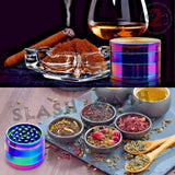 Rainbow Stainless Steel Magnetic Spice Herb Grinder 4 piece - 3 sizes Ice Blue