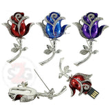 Crystal Rose Pin USB Flash Drive 2.0 Flower 16gb red/blue/purple U Disk Memory Stick