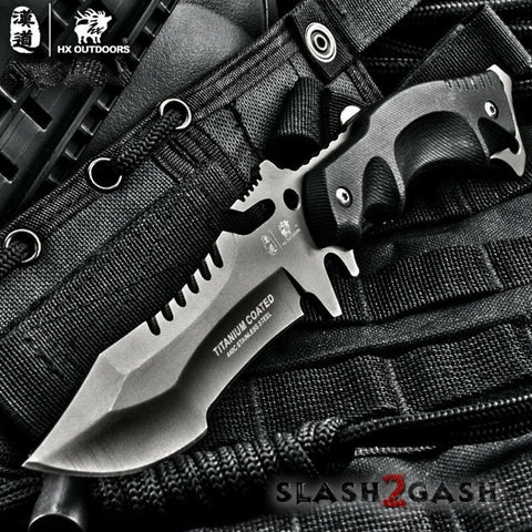 HX OUTDOORS Tactical Knife 440C Blade K10 w/ Sheath Plated Titanium