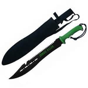 "25"" Zombie Killer Machete Full Tang Sawback Bowie w/ Gut Hook"