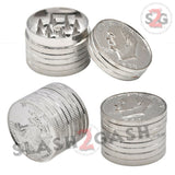 Silver Dollar Coin Grinder Metal Tobacco Herb Crusher - 3 pieces