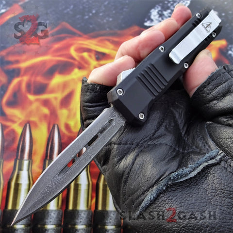 "Delta Force Small 7"" OTF Bullet HK Automatic Knife - REAL Layered Damascus Switchblade Double Edge Dagger"