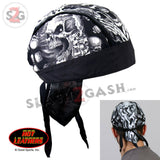 Hot Leathers Assassin Motorcycle Headwrap Skull & Guns Durag