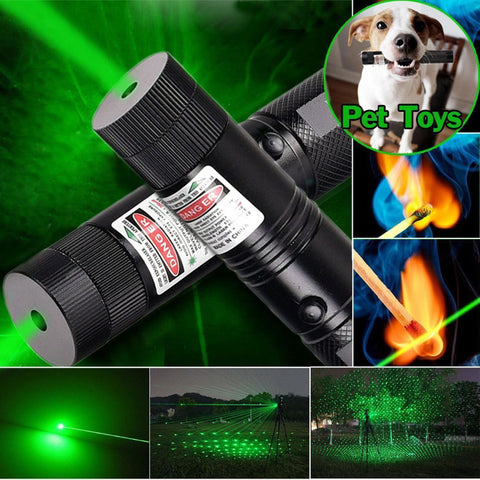 Green Laser Pointer Pen 303 Adjustable Focus Burning Match Military Grade 10 Miles + Star Cap + Battery + Charger 532nm