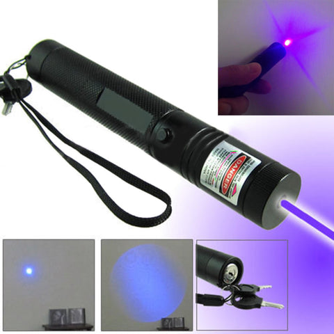 Blue Purple Laser Pointer Pen 303 Adjustable Focus Burning Match Military Grade 10 Miles + Star Cap + Battery + Charger 405nm