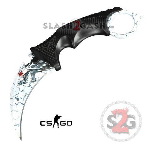 CSGO Wolf Karambit Full TANG Tactical Claw Neck Knife w/ Sheath BEST ver