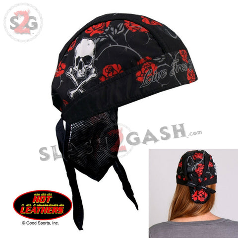 Hot Leathers Skull & Roses Headwrap Lightweight Live Free Durag
