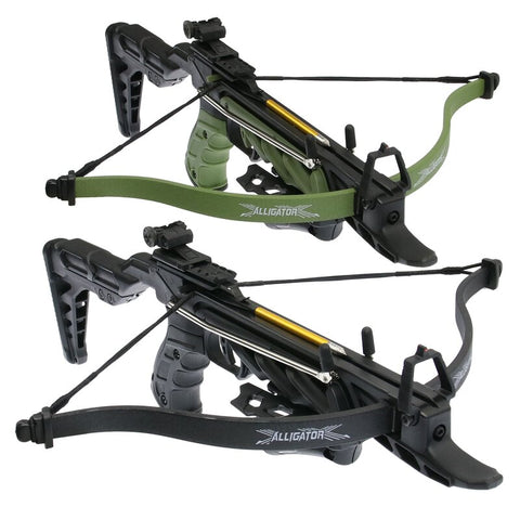 80 lb Pistol Crossbow ALLIGATOR w/ Adjustable Stock - Self Cocking