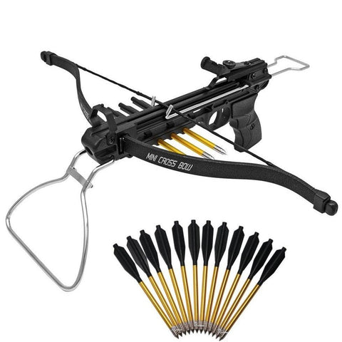 80 lb Metal Pistol Crossbow w/ Quiver 15 Arrows Hunting Archery