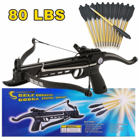 80 lb Self Cocking Pistol Crossbow W/ 15 Arrows Bolts Hunting Archery Gun