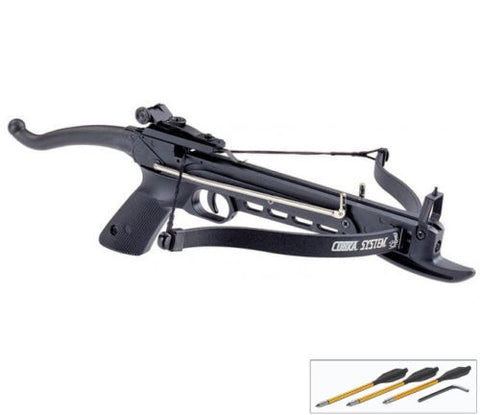 80 lb Self Cocking Pistol Crossbow W/ Arrows Bolts Hunting Archery Gun