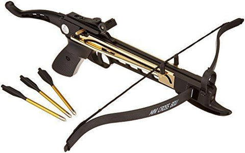 80 lb Metal Self Cocking Pistol Crossbow W/ Arrows Bolts Hunting Archery Gun