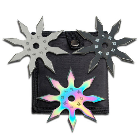 "Throwing Star Set 4"" 8 Point Perfect Point Black Silver Rainbow 3 Pack"