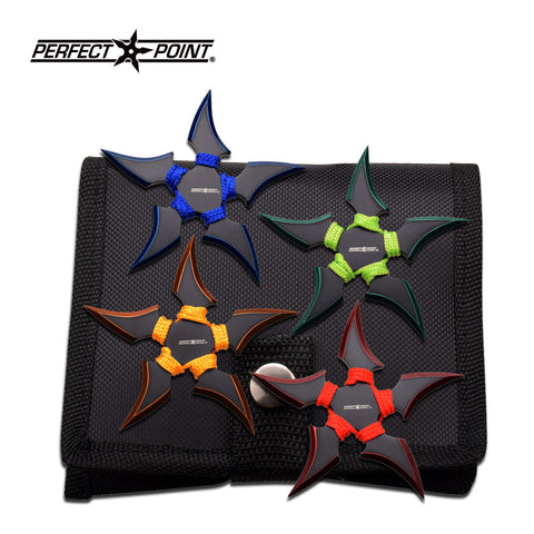 "Throwing Star Set 4"" 5 Point Perfect Point Green Yellow Blue Red 4 Pack"