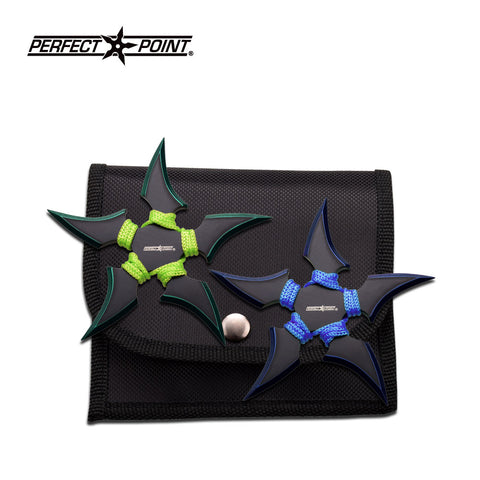 "Ninja Throwing Star Set 4"" Perfect Point Throwers Green & Blue 2pc Shurikens"