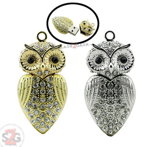 Cute Crystal Owl Necklace USB Flash Drive 2.0 Pendant 16 GB gold/silver U Disk Memory Stick
