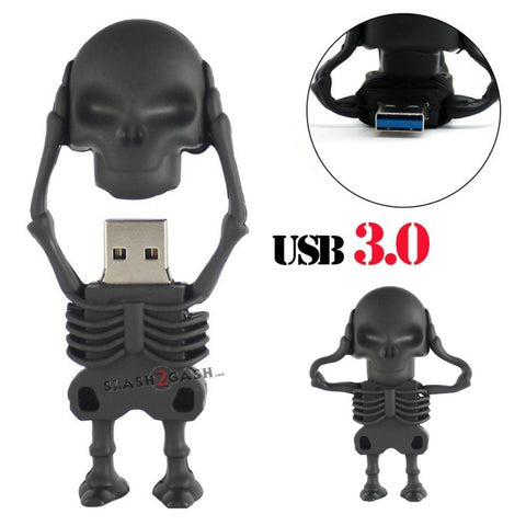 Skeleton USB Flash Drive 3.0 Rubber Skull Memory Stick 16/32gb 10x FASTER!