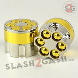 Gold Revolver Bullet Herb Grinder Tobacco Mill - 3 Parts 2 Sizes 40mm 50mm