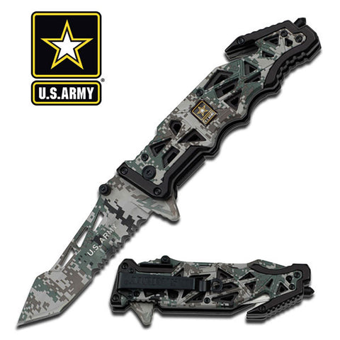 "U.S. Army Knife Licensed ""Liberator"" Digital Camo Tactical Spring Assisted"
