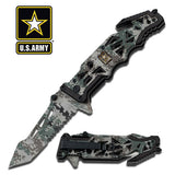 "U.S. Army Knife Licensed ""Liberator"" Black Tactical Spring Assisted Knife"