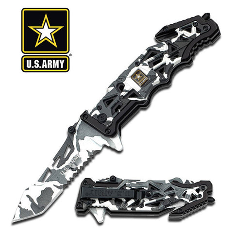 "U.S. Army Knife Licensed ""Liberator"" Snow Camo Tactical Spring Assisted"