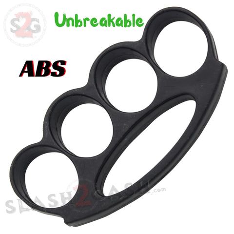 ABS Plastic Brass Knuckles Unbreakable Lexan Paperweight - Fat Boy Black Extra Wide