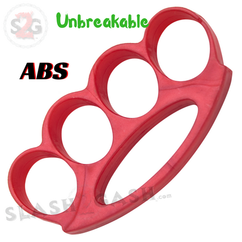 ABS Plastic Brass Knuckles Unbreakable Lexan Paperweight Extra Wide Belt Buckle Fat Boy - Red