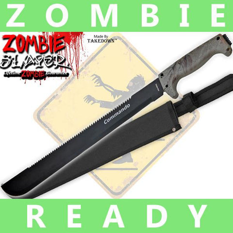 Full Tang Undead Slayer Sawback Machete - Hunting Camo