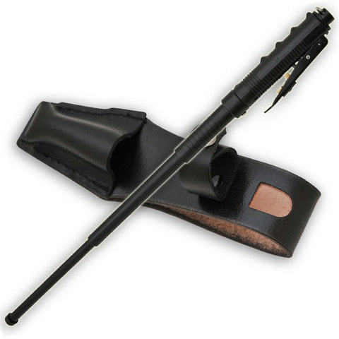 AUTOMATIC Baton Police Grade W/Leather Solid Metal Stick Black