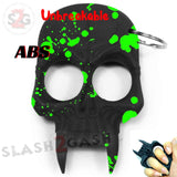 Demonic Skull Self Defense Keychain ABS Knuckles Unbreakable - Black with Green Blood Splash