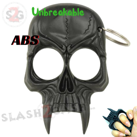 Demonic Skull Self Defense Keychain ABS Knuckles - Black Unbreakable Plastic