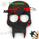 Demonic Skull Self Defense Keychain ABS Knuckles Unbreakable - Black with Red Blood Splash