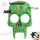 Demonic Skull Self Defense Keychain ABS Knuckles Unbreakable - Green with Red Blood Splash