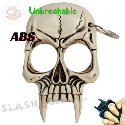 Demonic Zombie Skull Self Defense Keychain ABS Knuckles - Natural Bone Unbreakable Plastic