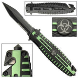 Zombie Killer Spring Assist Tactical Knife Quarantine Dagger w/ Glass Breaker