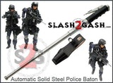 AUTOMATIC Baton Police Grade W/Leather Solid Metal Stick Chrome
