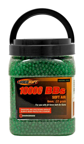 Marksman 10,000 .12g Airsoft BB's 6mm Ammo Lasersoft - Green 10K BBs