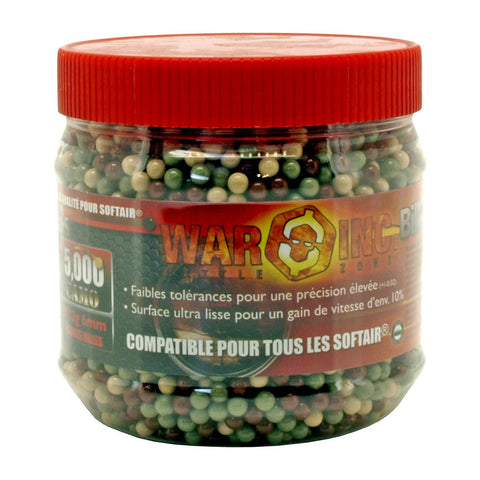 War Inc 5000 Round Jar .12g Airsoft BB's 6mm - Camo Ammo